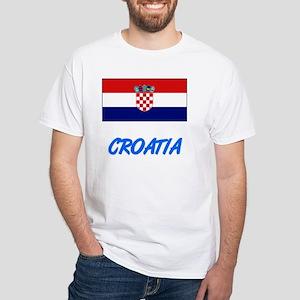 Croatia Flag Artistic Blue Design T-Shirt