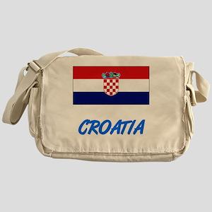 Croatia Flag Artistic Blue Design Messenger Bag