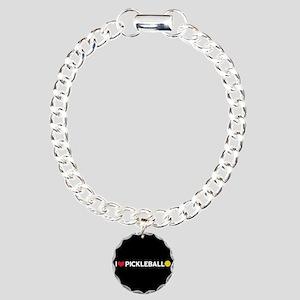 I Love Pickleball Charm Bracelet, One Charm