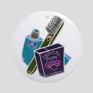 Toothbrush Toothpaste Floss Ornament (Round)