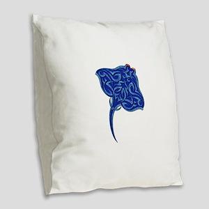 Tribal manta Ray 1 Burlap Throw Pillow