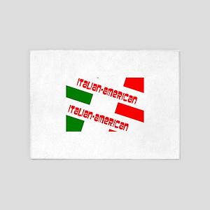 Italian-American Flag Green White R 5'x7'Area Rug