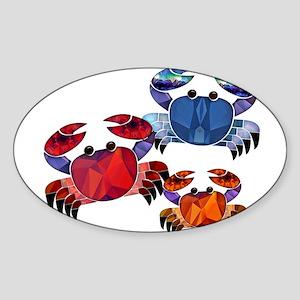 Blue & Red Mosaic Crab Trio Sticker