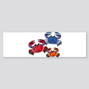 Blue & Red Mosaic Crab Trio Bumper Sticker