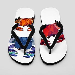 Blue & Red Mosaic Crab Trio Flip Flops