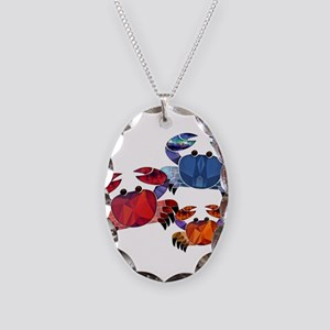 Blue & Red Mosaic Crab Trio Necklace Oval Charm