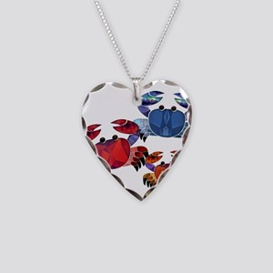 Blue & Red Mosaic Crab Trio Necklace Heart Charm