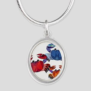 Blue & Red Mosaic Crab Trio Necklaces