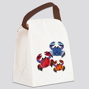Blue & Red Mosaic Crab Trio Canvas Lunch Bag