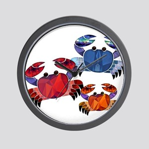 Blue & Red Mosaic Crab Trio Wall Clock