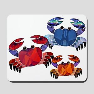Blue & Red Mosaic Crab Trio Mousepad