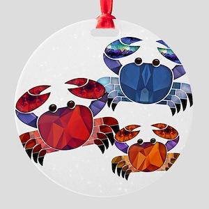 Blue & Red Mosaic Crab Trio Round Ornament