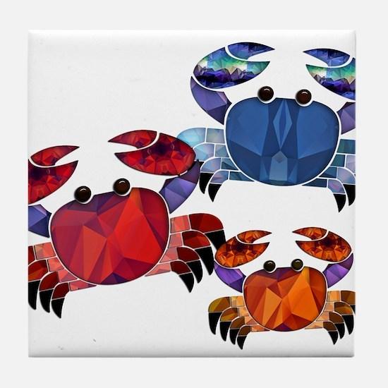 Blue & Red Mosaic Crab Trio Tile Coaster