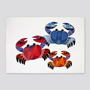 Blue & Red Mosaic Crab Trio 5'x7'Area Rug
