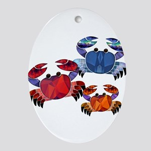 Blue & Red Mosaic Crab Trio Ornament (Oval)