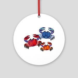 Blue & Red Mosaic Crab Trio Ornament (Round)