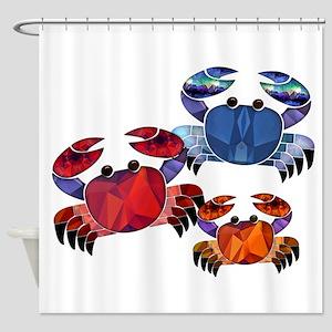 Blue & Red Mosaic Crab Trio Shower Curtain