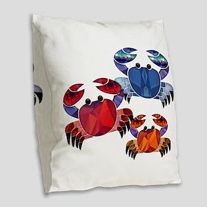 Blue & Red Mosaic Crab Trio Burlap Throw Pillow