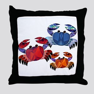 Blue & Red Mosaic Crab Trio Throw Pillow