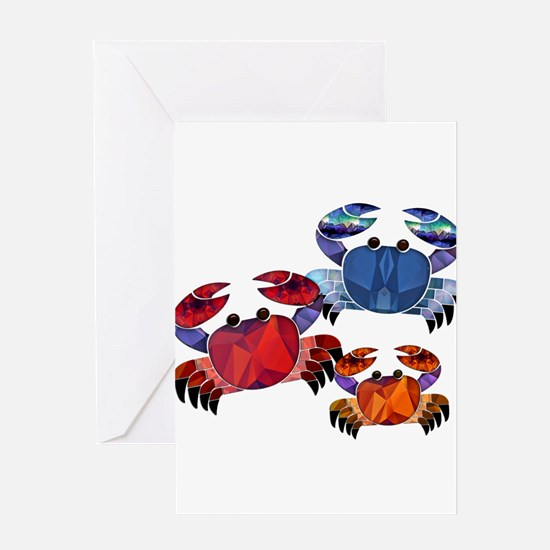 Blue & Red Mosaic Crab Trio Greeting Cards