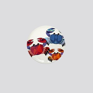 Blue & Red Mosaic Crab Trio Mini Button