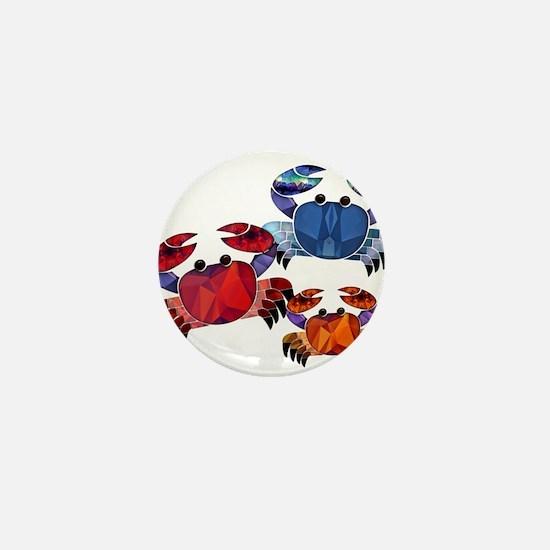 Blue & Red Mosaic Crab Trio Mini Button