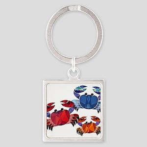 Blue & Red Mosaic Crab Trio Keychains