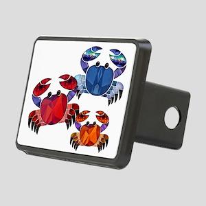 Blue & Red Mosaic Crab Tri Rectangular Hitch Cover