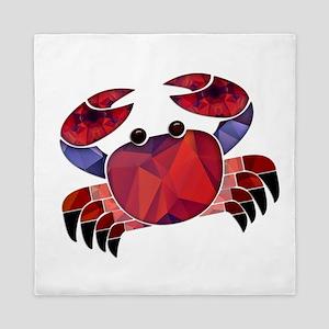 Red Mosaic Dungeness Crab Queen Duvet