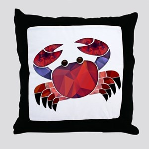 Red Mosaic Dungeness Crab Throw Pillow