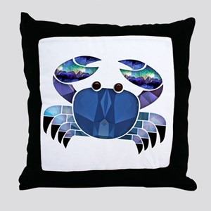 Blue Mosaic Dungeness Ctab Throw Pillow