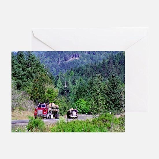 Hauling Logs Greeting Cards (6)