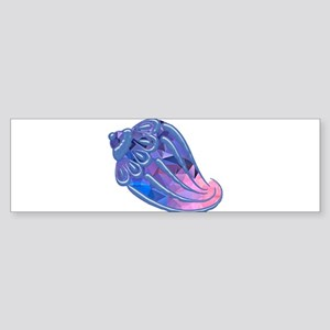 Pink and Blue Mosaic Conch Seashell Bumper Sticker