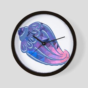 Pink and Blue Mosaic Conch Seashell Wall Clock