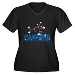 Caffeine Molecule Women's Plus Size V-Neck Dark T-