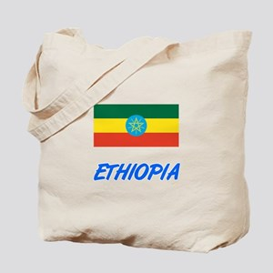 Ethiopia Flag Artistic Blue Design Tote Bag