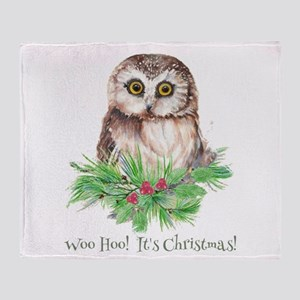 Woo Hoo its Christmas ! Cute Owl Bird Humor quote