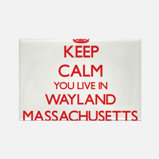 Keep calm you live in Wayland Massachusett Magnets