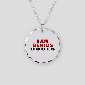 I Am Genius Doula Necklace Circle Charm