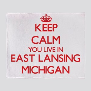Keep calm you live in East Lansing M Throw Blanket