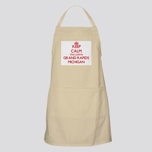 Keep calm you live in Grand Rapids Michigan Apron