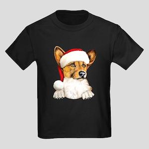 Santa Corgi Kids Dark T-Shirt