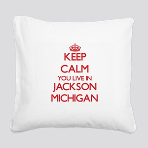 Keep calm you live in Jackson Square Canvas Pillow
