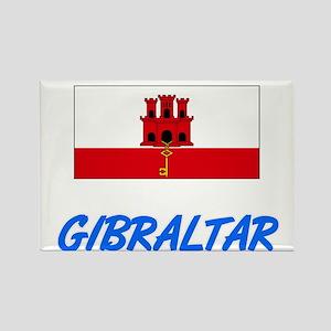 Gibraltar Flag Artistic Blue Design Magnets
