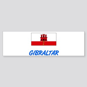 Gibraltar Flag Artistic Blue Design Bumper Sticker