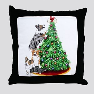 Corgi Christmas Throw Pillow