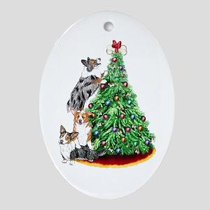 Corgi Christmas Oval Ornament