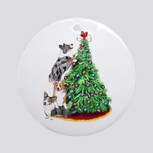Corgi Christmas Ornament (Round)