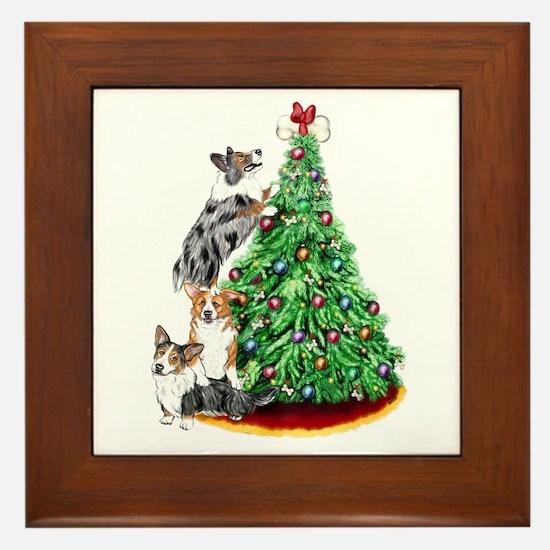 Corgi Christmas Framed Tile