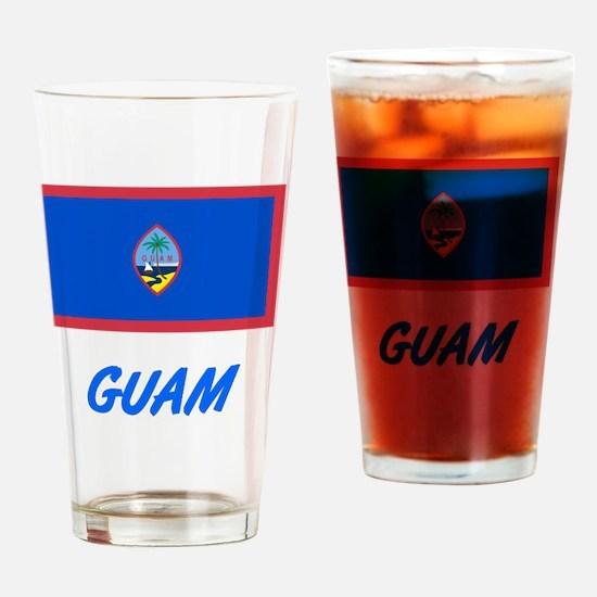 Guam Flag Artistic Blue Design Drinking Glass